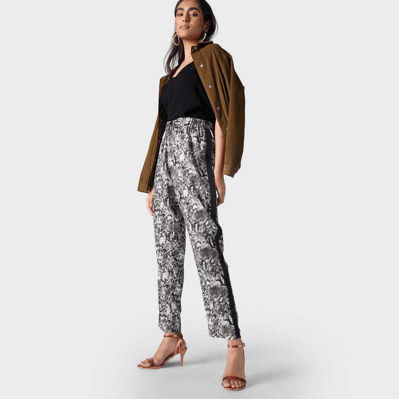 Monochrome Animal Print Panelled Pants