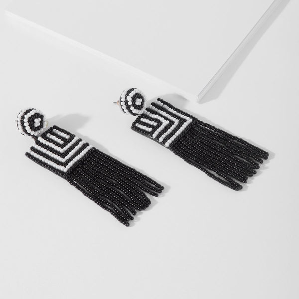 Monochrome Beaded Tassel Earrings