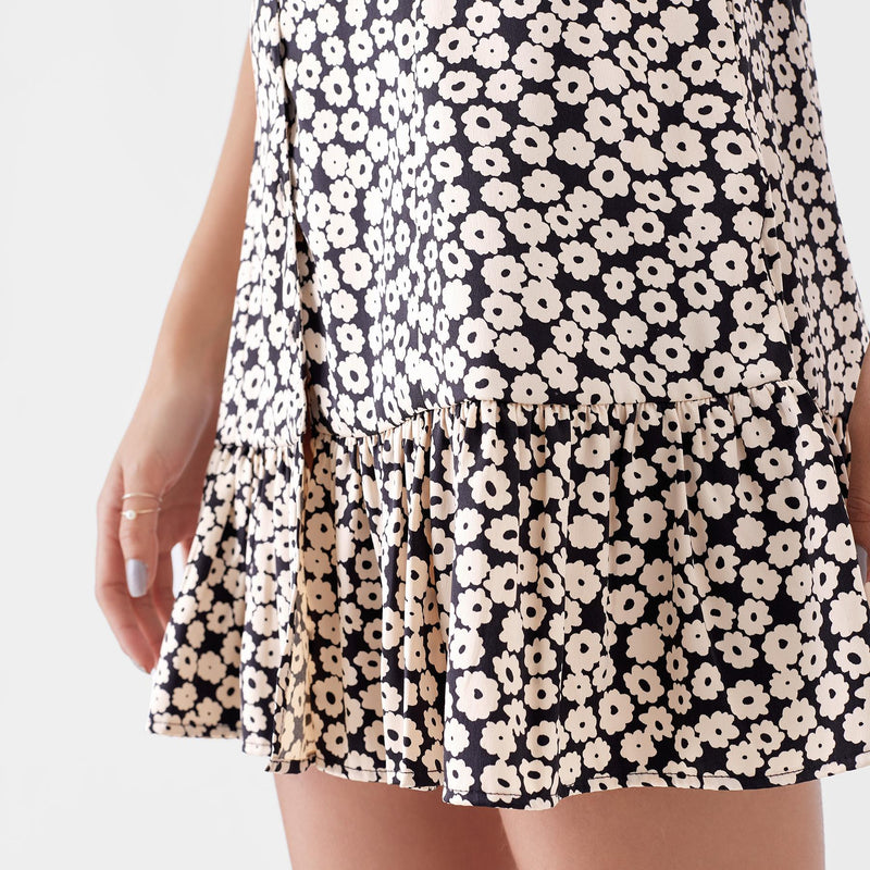 Monochrome Daisy Ruffle Hem Dress