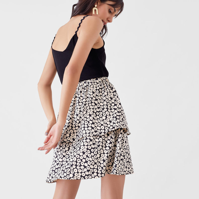 Monochrome Daisy Tiered Skirt