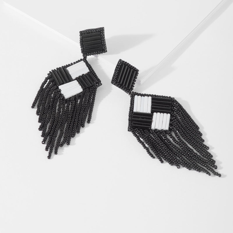 Monochrome Diamond Beaded Earrings
