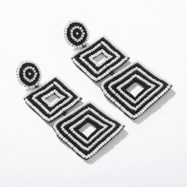 Monochrome Dual Square Beaded Earrings