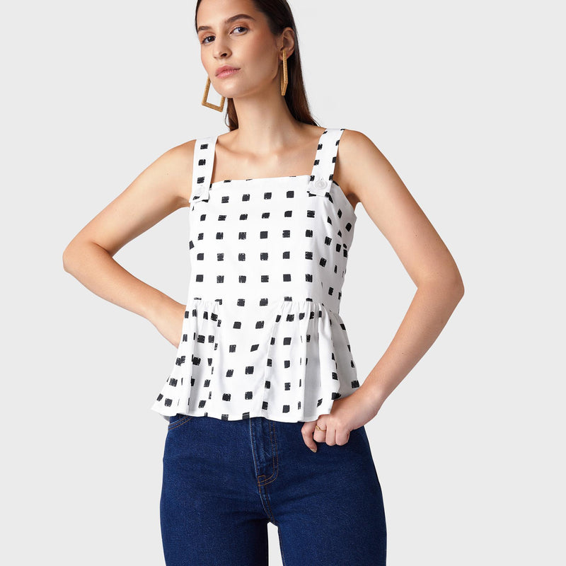 Monochrome Geo Peplum Top