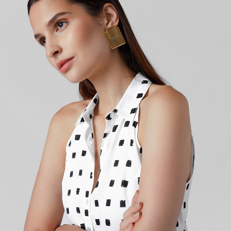Monochrome Geo Sleeveless Shirt