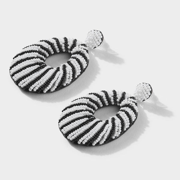 Monochrome Oval Beaded Earrings