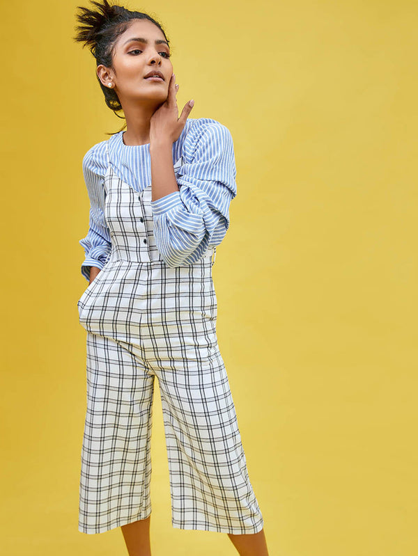 Monochrome Plaid Belted Jumpsuit
