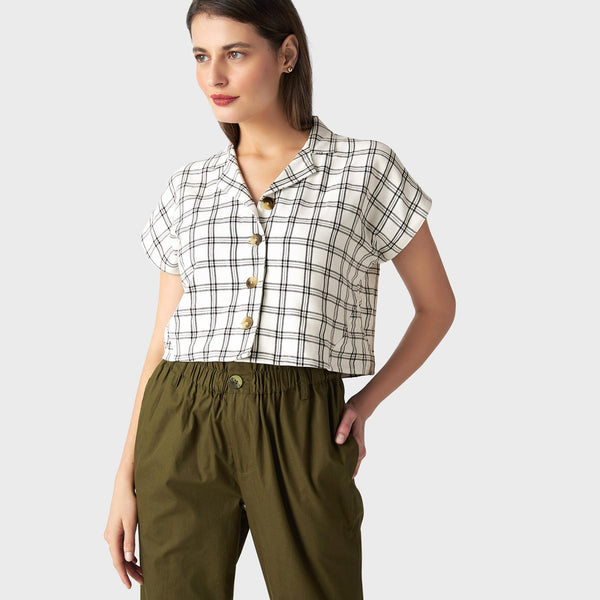 Monochrome Plaid Crop Shirt