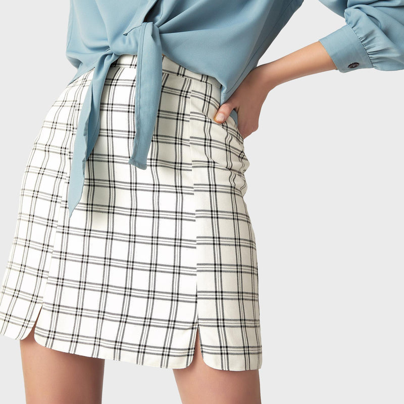 Monochrome Plaid Mini Skirt