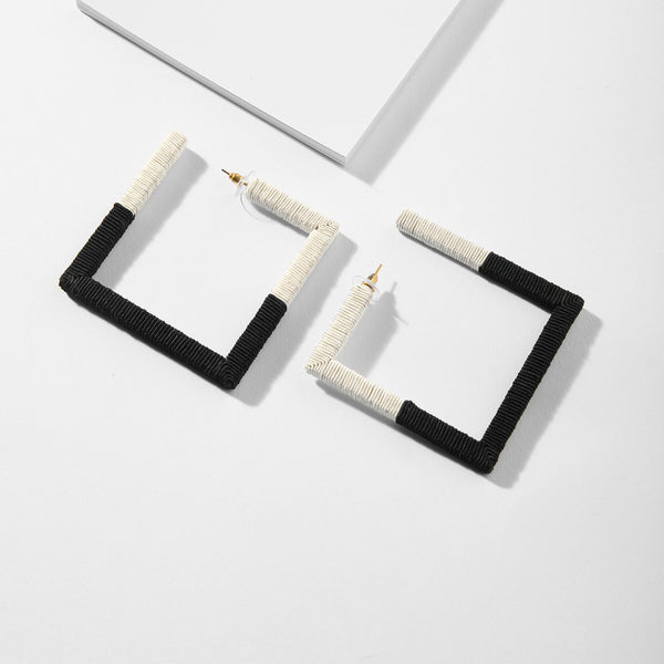 Monochrome Square Thread Work Earrings