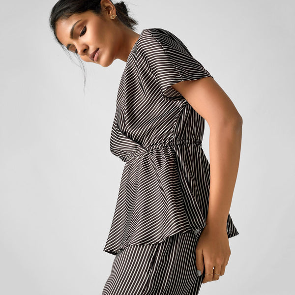 Monochrome Striped Peplum Sleep Top
