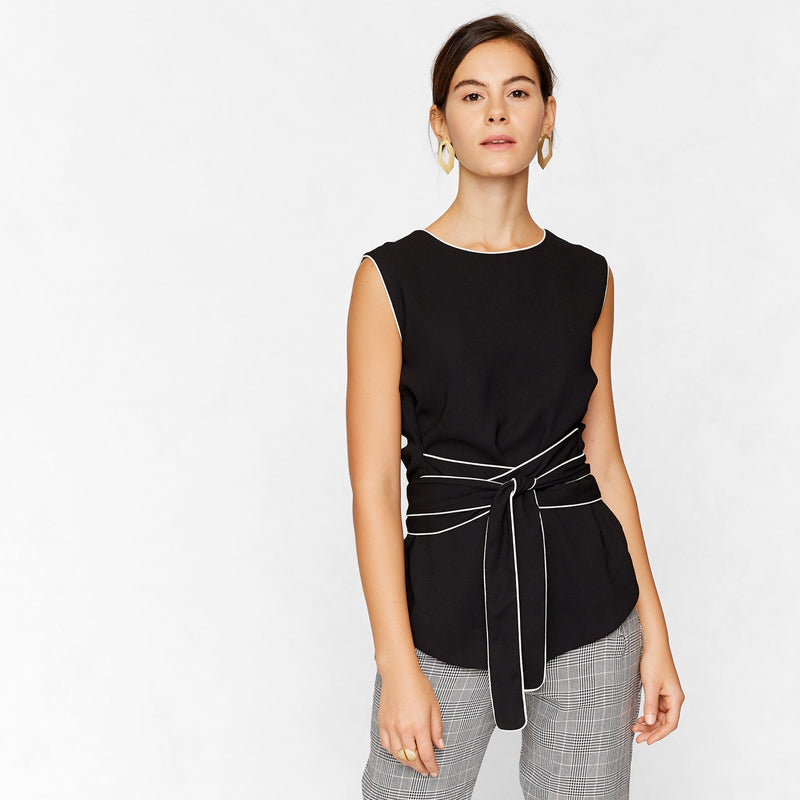Monochrome Sleeveless Waist Tie Top