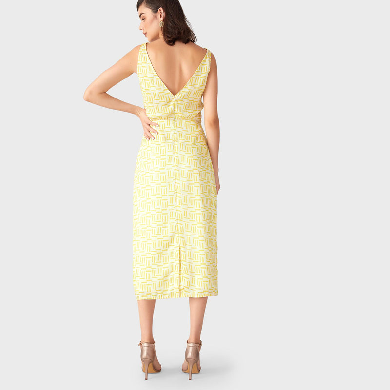 Mustard Geo Cowl Neck Midi Dress