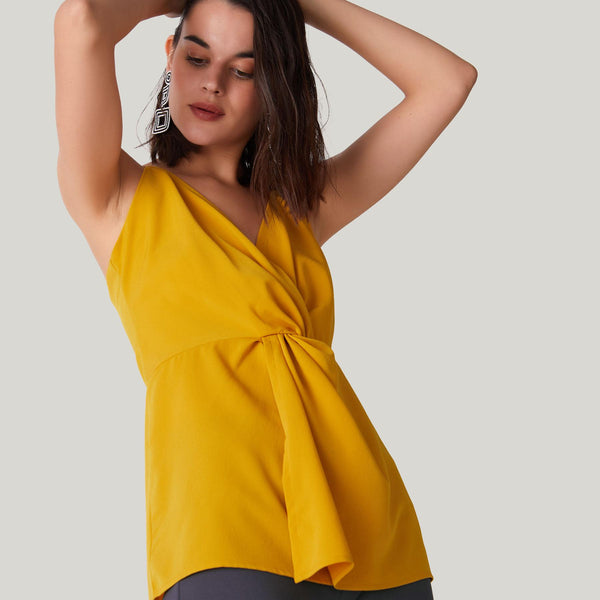 Mustard Knotted Top