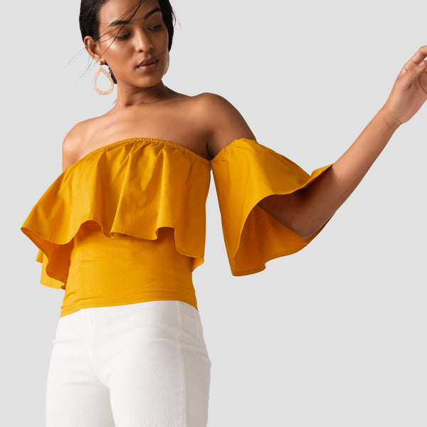 Mustard Off Shoulder Ruffle Crop Top