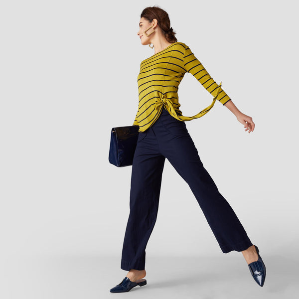 Mustard Stripe Side Tie Top