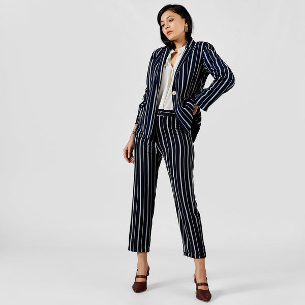 Midnight Striped Blazer