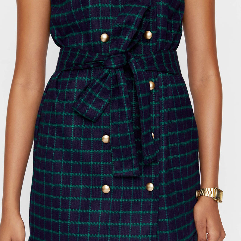 Navy & Emerald Plaid Drop Waist Dress