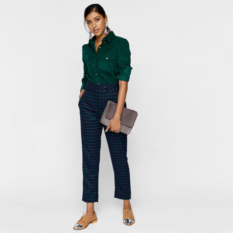 Navy & Emerald Plaid Pants