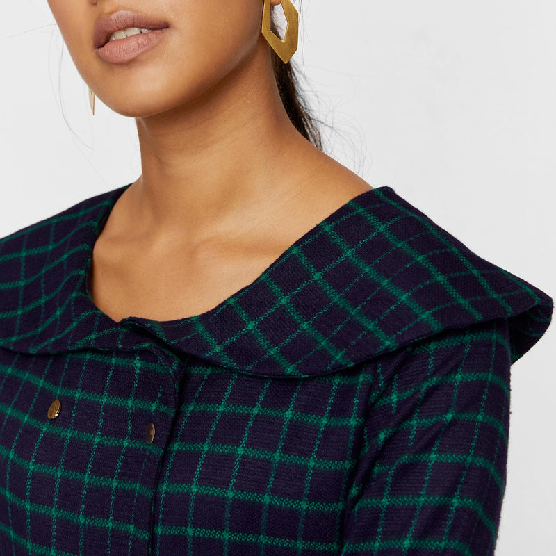 Navy & Emerald Plaid Pleated Dress