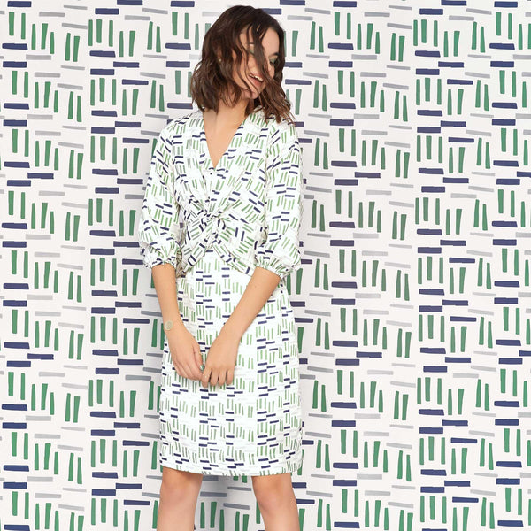 Navy & Fern Geo Twist Dress