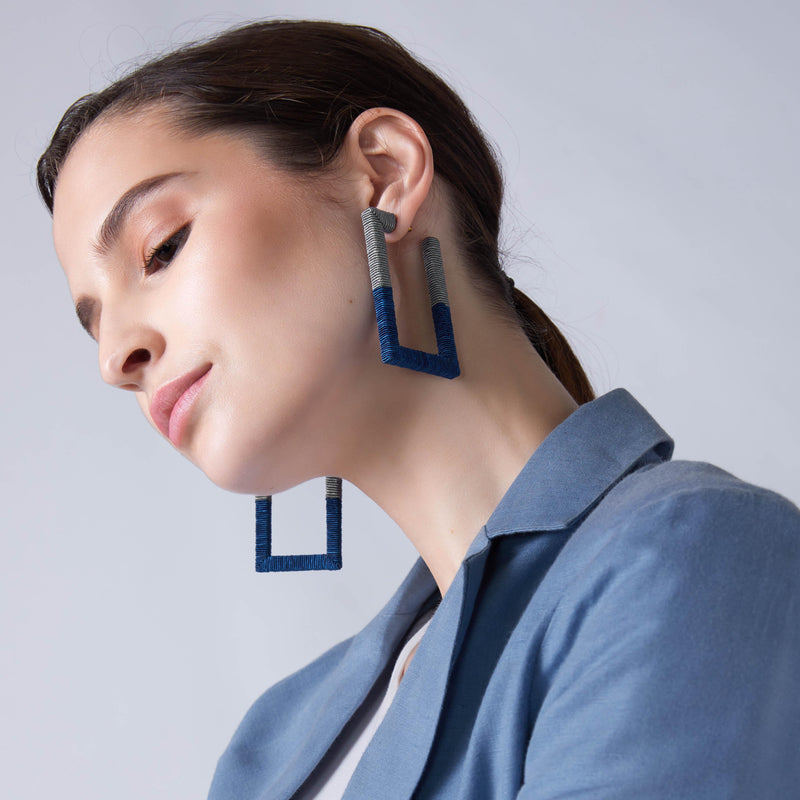 Navy & Grey Rectangle Thread Work Earrings