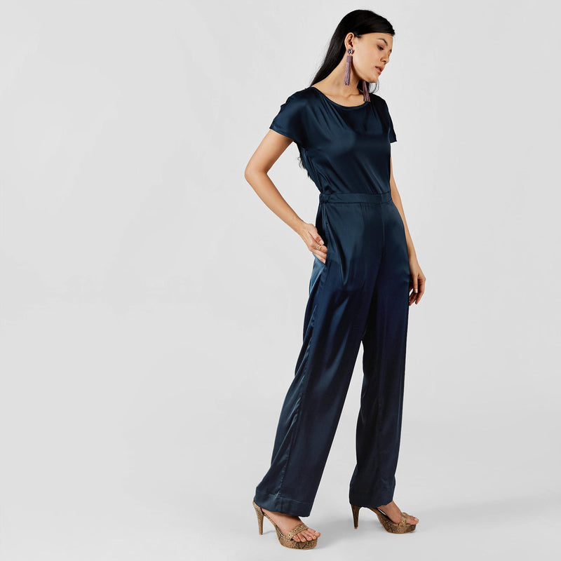 Navy Satin Back Cut Out Jumpsuit