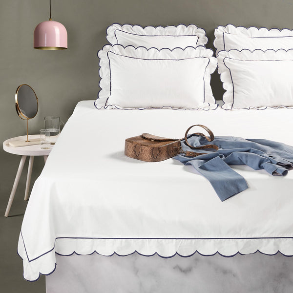 Navy Scallop Border Bedcover