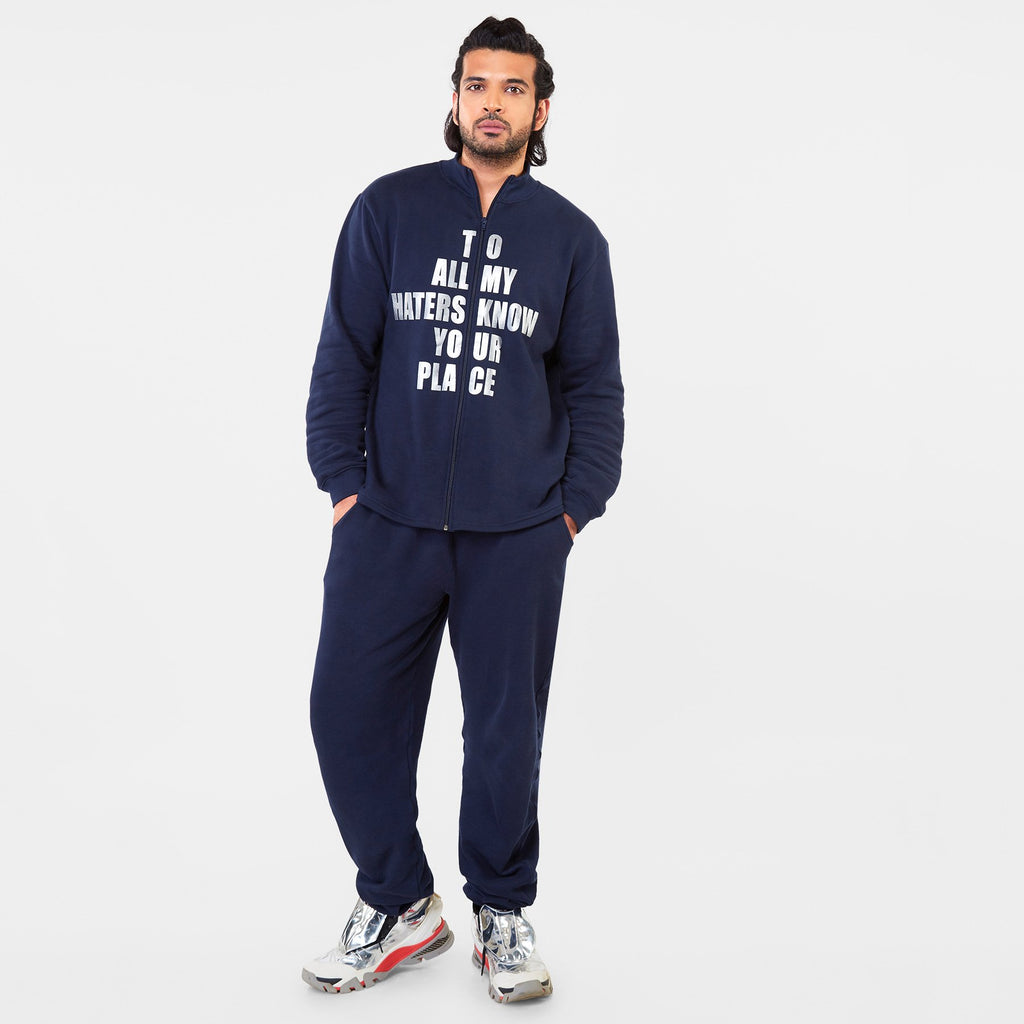 Navy Slogan Men's Tracksuit