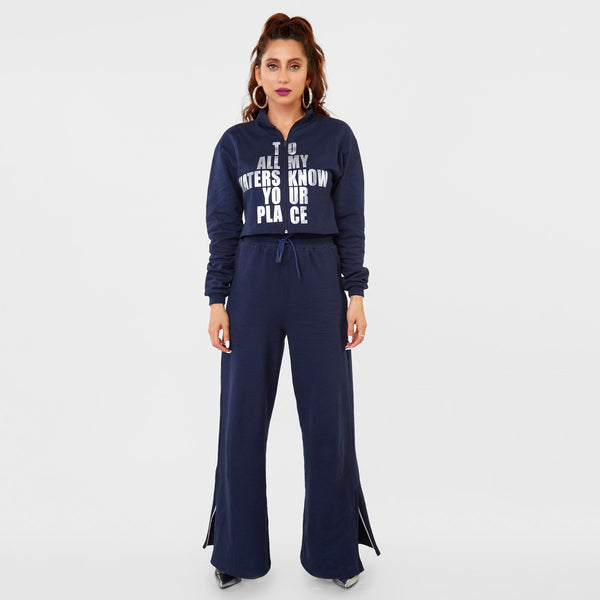 Navy Slogan Women's Tracksuit