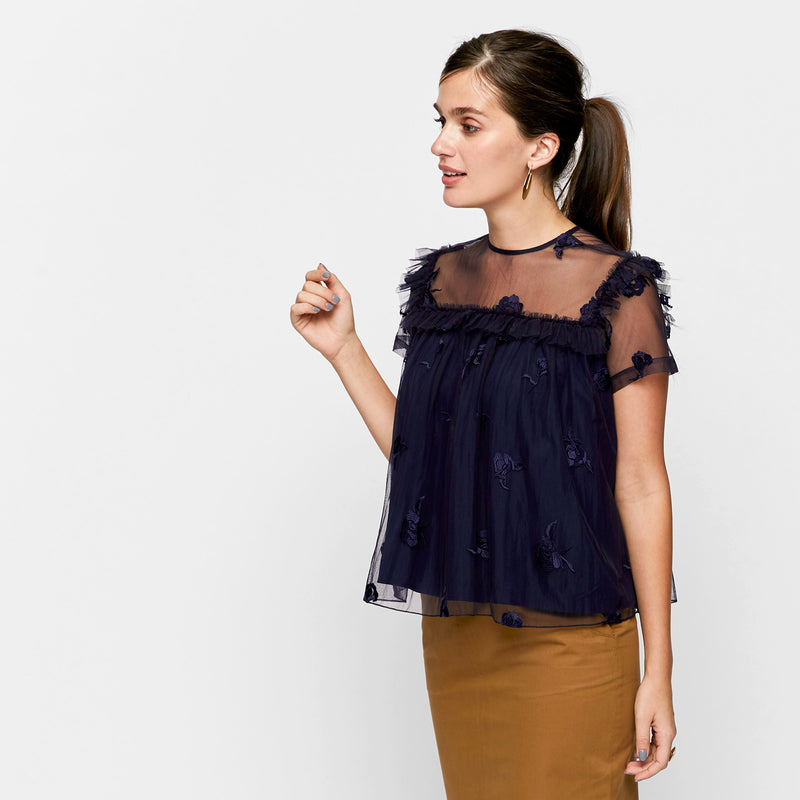 Navy Tulle Ruffle Yoke Top