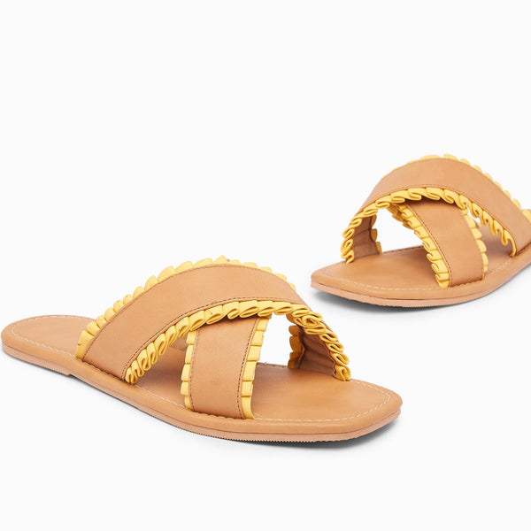Nude & Mango Cross Ruffle Sliders