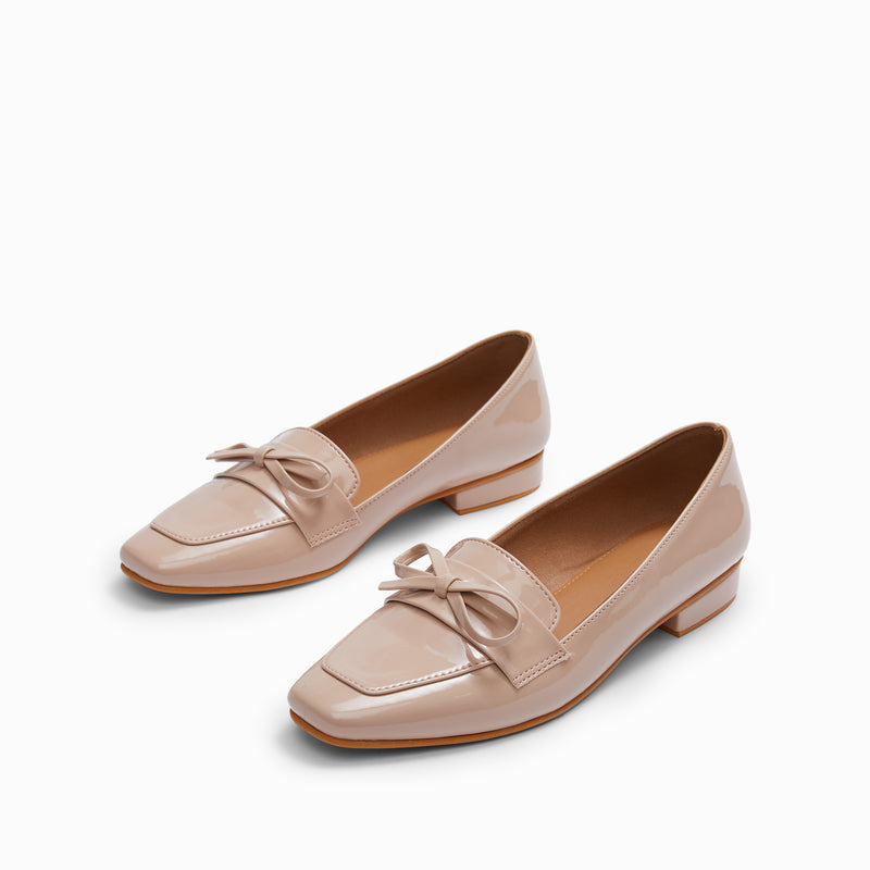 Nude Patent Bow Loafers