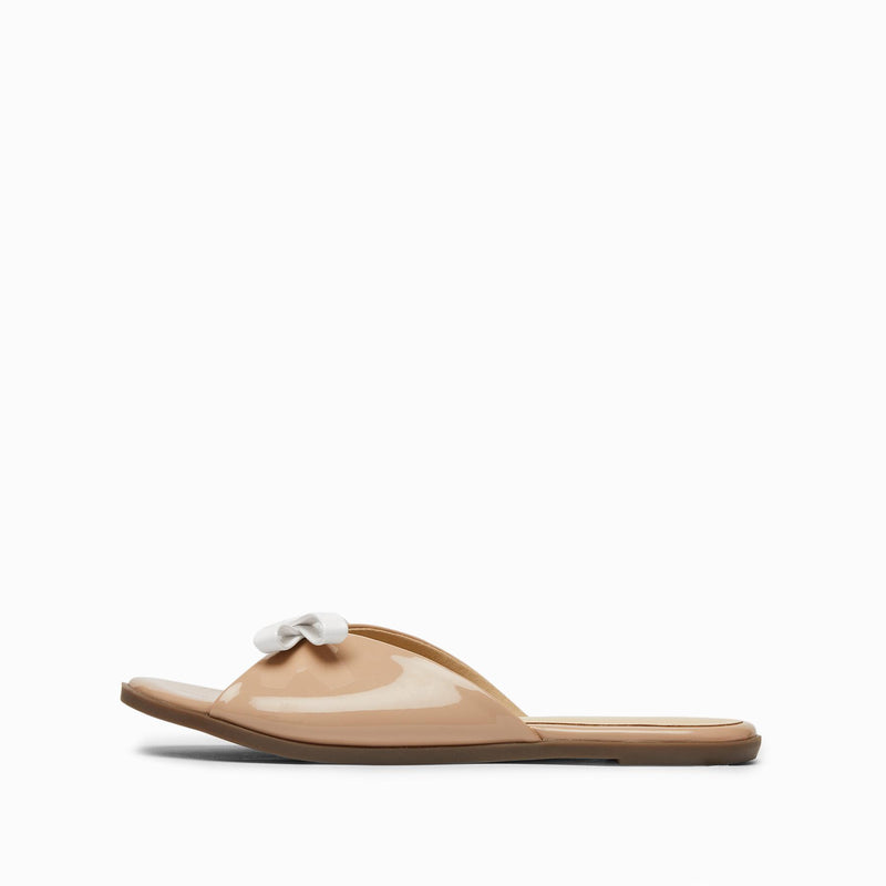 Nude Patent Bow Sliders