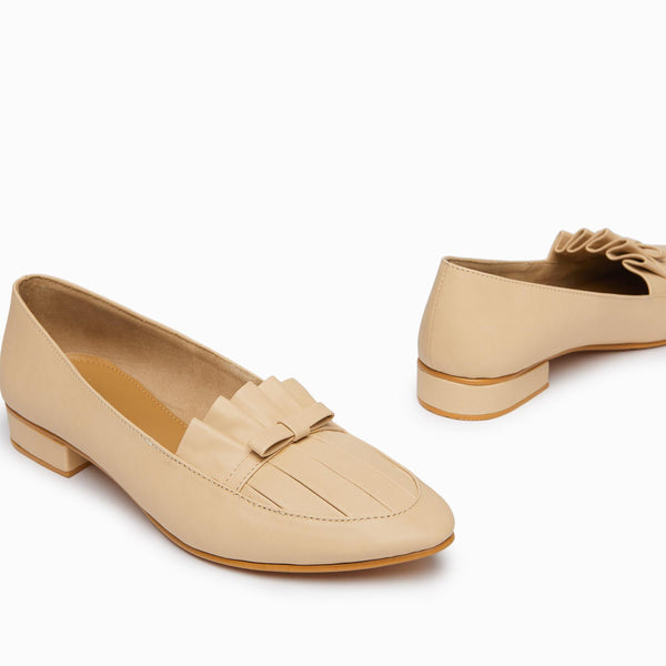 Nude Ruffle Loafers