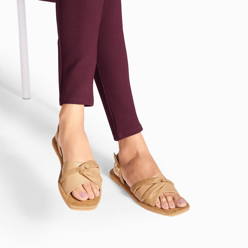 Nude Suede Draped Flats