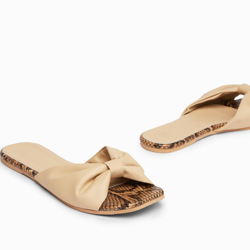 Nude Textured Ruched Sliders