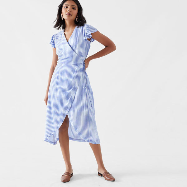 Ocean Striped Wrap Dress