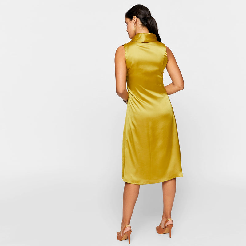 Ochre Chevron Pleated Cowl Neck Dress