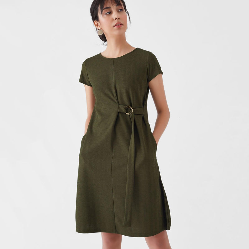 Olive Herringbone D Buckle Dress