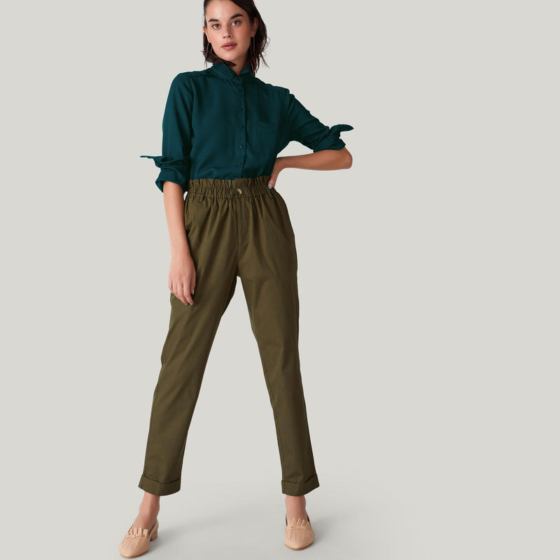 Olive High Waist Ruffle Pants