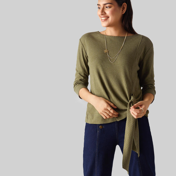 Olive Jersey Side Tie Top