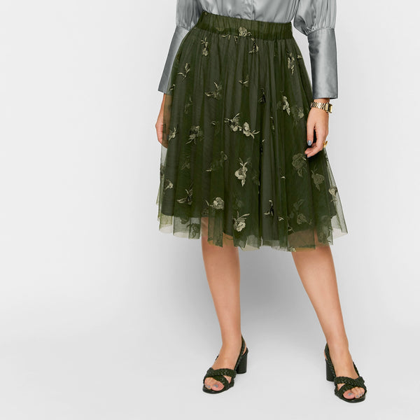 Olive Tulle Flared Skirt