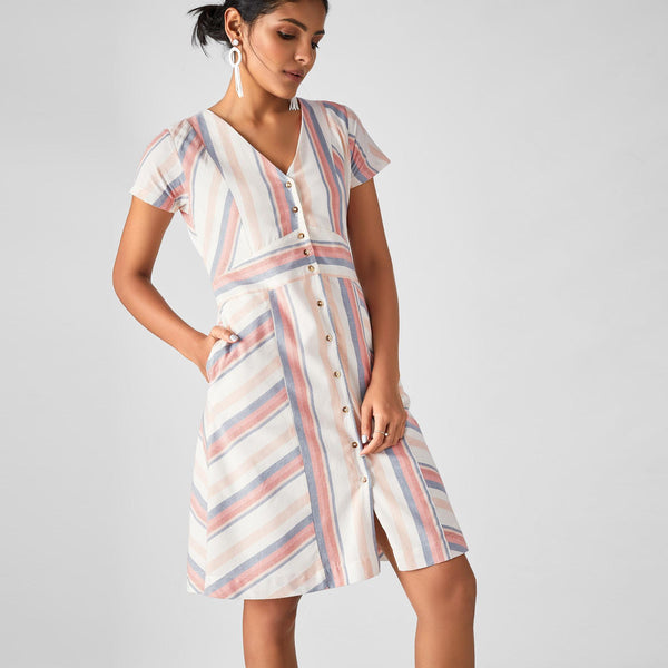 Pastel Stripe Button Down Dress