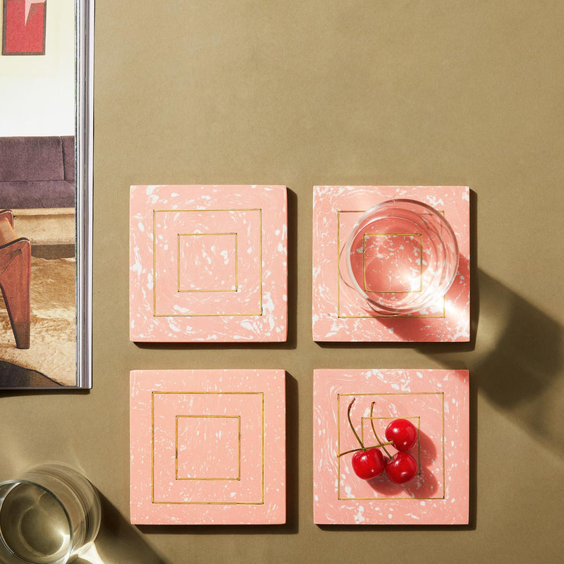 Peach Marble & Brass Square Coasters