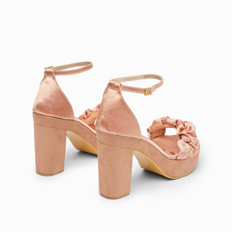 Peach Satin Ruffle Block Heels