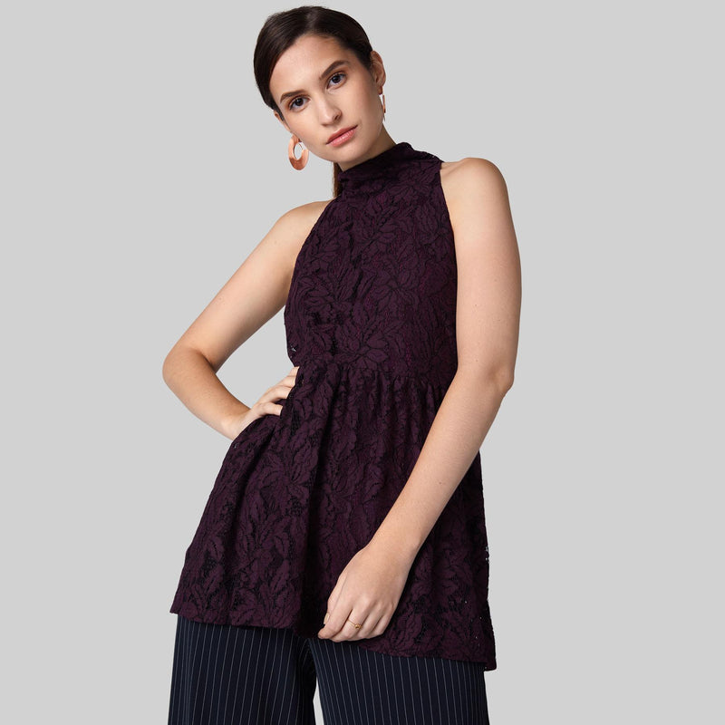 Plum Lace High Neck Tie Top