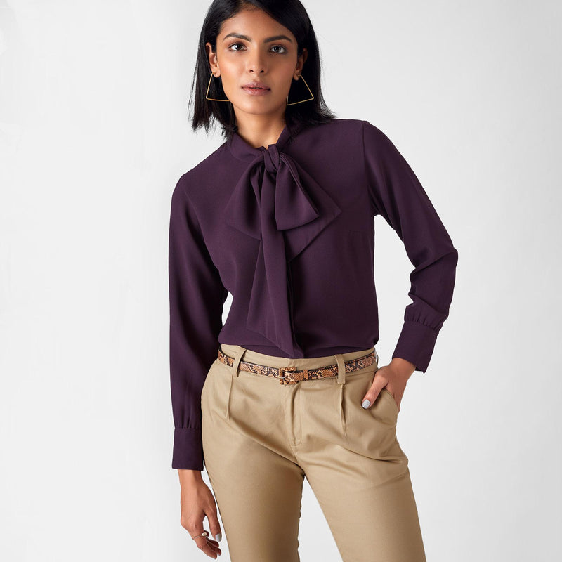 Plum Pussy Bow Shirt