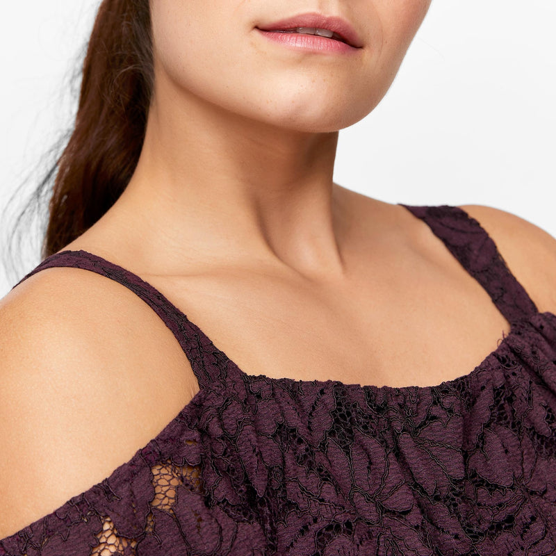Plum Lace Cold Shoulder Dress