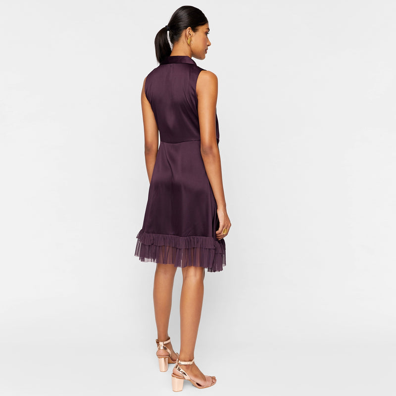 Plum Tulle Wrap Dress