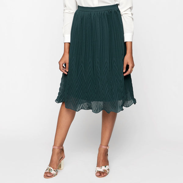 Prussian Blue Pleated Skirt